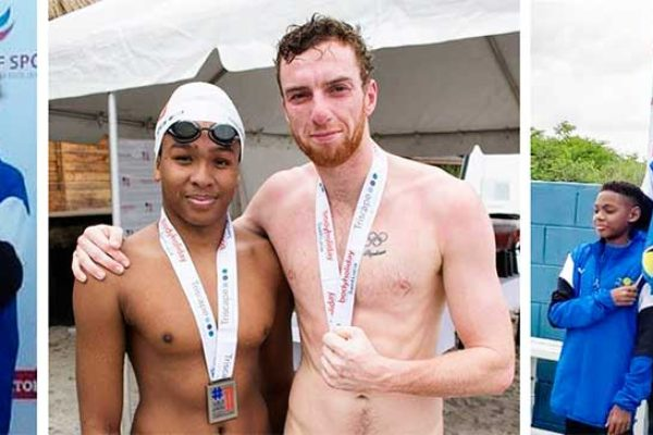 Image: (l-r) Theron Herelle (SJ) Antoine Destang (Sharks), Tristan Dorville), Mila Festina Cromer (SJ), Nick McLennon (SJ), Dan Wallace (Olympian) (Photo: SJ)