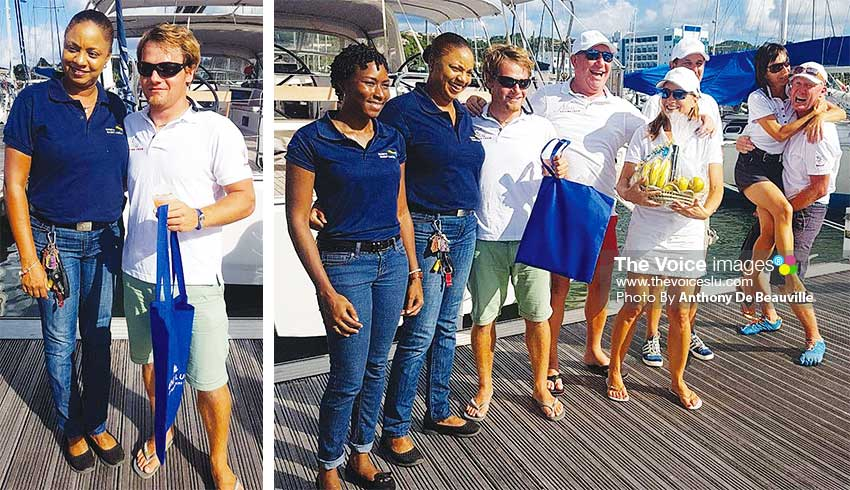 Image: (L-R) Events Saint Lucia representative, Hayle Harvey makes a presentation to Nika's skipper Ziga; Tessa Joseph, Hayle Harvey, Events Saint Lucia Representatives and a spirited crew from NIKA. (PHOTO: Anthony De Beauville)
