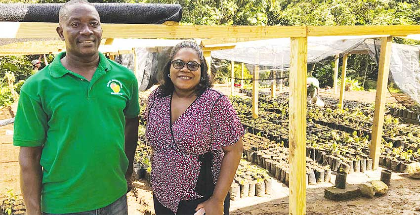 Image: Ms. Aretha Darcheville, IWEco St. Lucia National Project Coordinator and Mr. Alfred Prospere, Deputy Chief Forest Officer, visit the plant nursery in Fond St. Jacques.