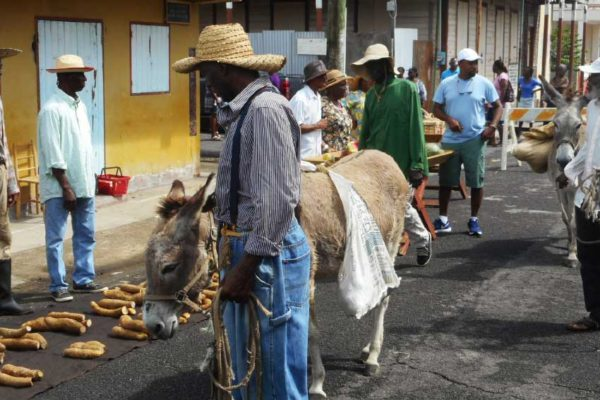 Image: Part of the scene set to recreat a Vieux Fort market way-back-when for local producer Mathurine Emanuel's fourth film.