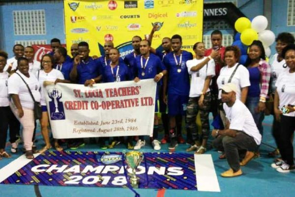 Image: Saint Lucia Teachers Credit Co Operative celebrating their championship victory (CCF)