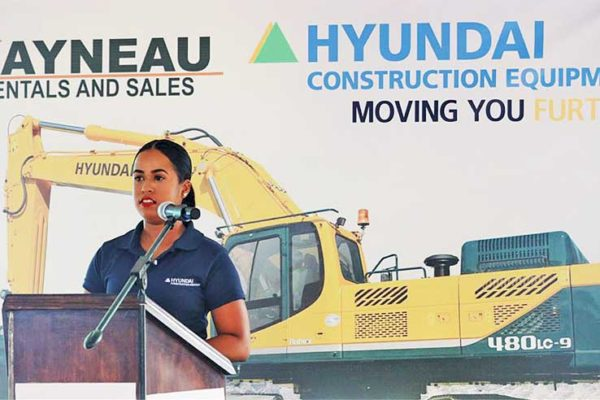 Image: General Manager Savvy Plummer assured that Hyundai sales and services here will be exemplary, as she addressed the latest venture by local entrepreneur Rayneau Gajadhar at Vide Boutielle last Friday.