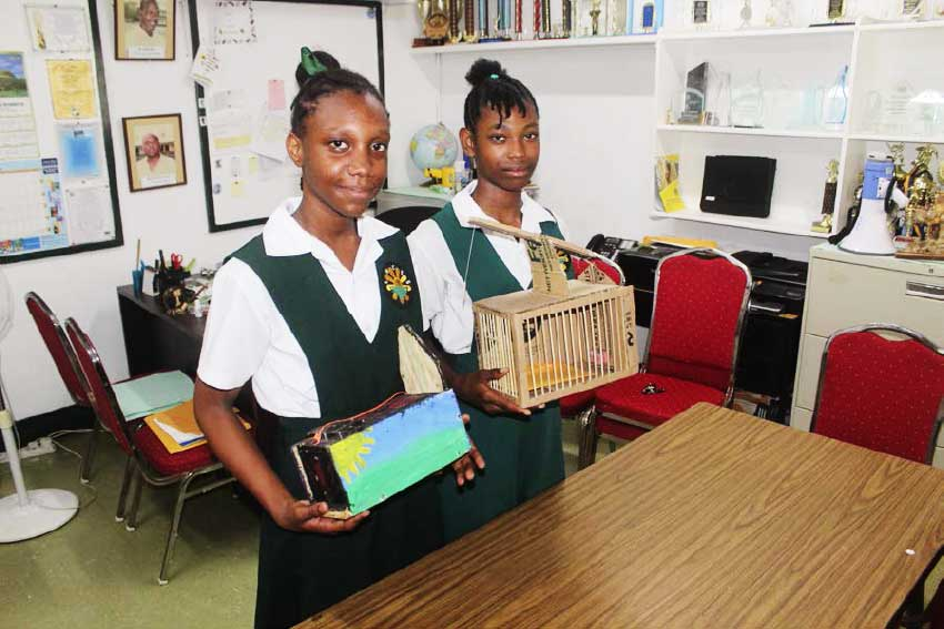 Image of students displaying their traps...
