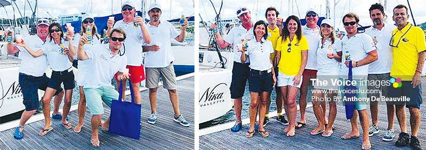 Image: Well deserved Piton/ rum punch for NIKA's crew members; NIKA crew members with World Cruising staff on arrival. (PHOTO: Anthony De Beauville)