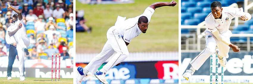 Image: (L-R) Windies fast bowlers Kemar Roach, Shannon Gabriel and Keemo Paul.