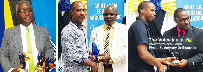 Image: (L-R) A handful of awards for Emmanuel Bellas, Andrew Phillip Referee of the Year receiving his awards and Sean Kerton receiving the Club of the Year award (VSADC). (PHOTO: Anthony De Beauville)