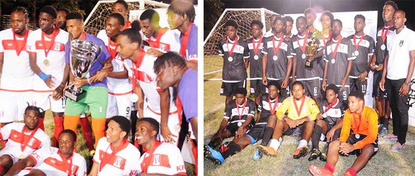 Image: (L-R) Dominators celebrate after winning the KFC/Gros Islet Football League Northern Zone Under-23 title; New Generation FC placed second. (PHOTO: DP).