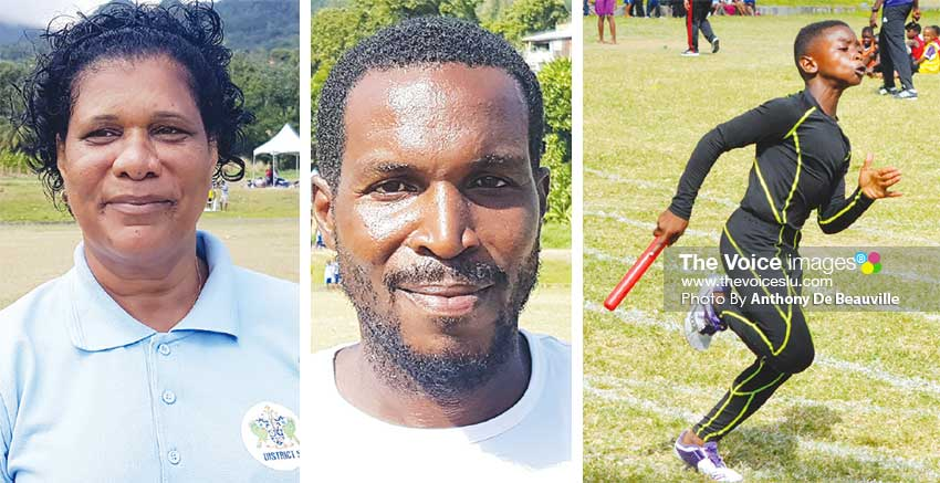 Image: (L-R) DEO District 5, Gabrielle St. Paul, District 5 School Sports Coordinator Nerville Florence, 8-year-old Jernal Moses was outstanding for Ti Rocher Combined in the U-9 Category. (PHOTO: Anthony De Beauville)