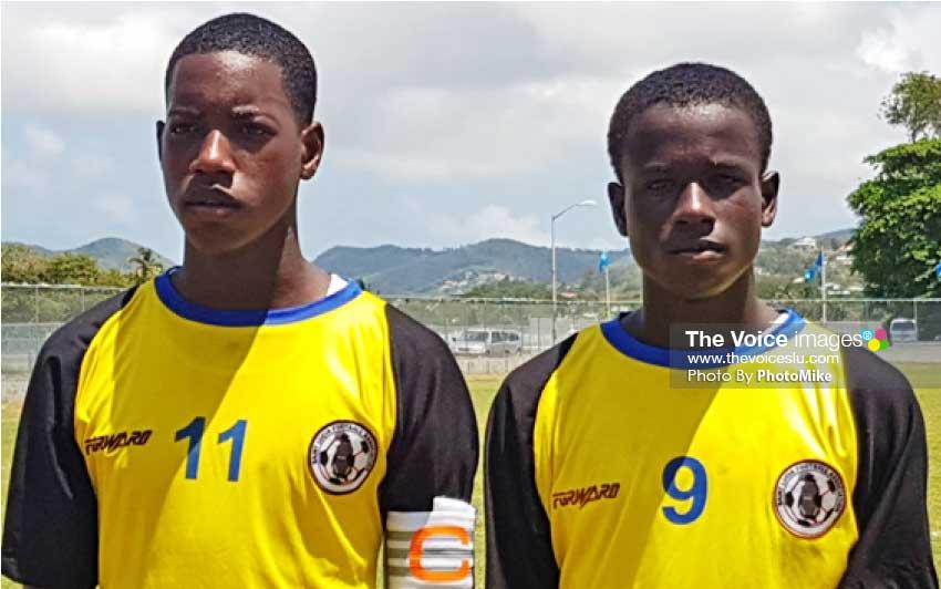 Image: (L-R)Jahnil Evans and Keegan Caul goal scorers for Saint Lucia. (Photo: Anthony De Beauville)