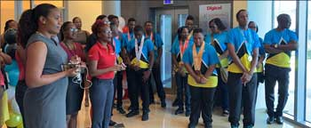 "img"" St. Lucia Special Olympics athletes meet and mingle with Digicel staff after returning from the 2019 World Games."
