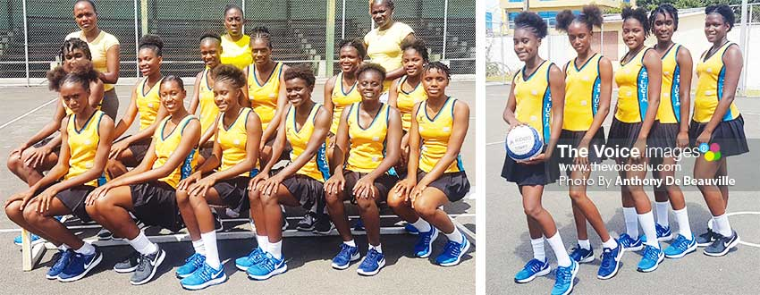 Image: (L-R) National Under16s with team officials; Sanya Antoine – Team Manager, Verne Alexander – Assistant Coach and Shem Maxwell – Head Coach; returning players from 2018, Mia Peter, JermiaSonson, Racquel John, Renala Francis and Dasha Eugene . (PHOTO: Anthony De Beauville)