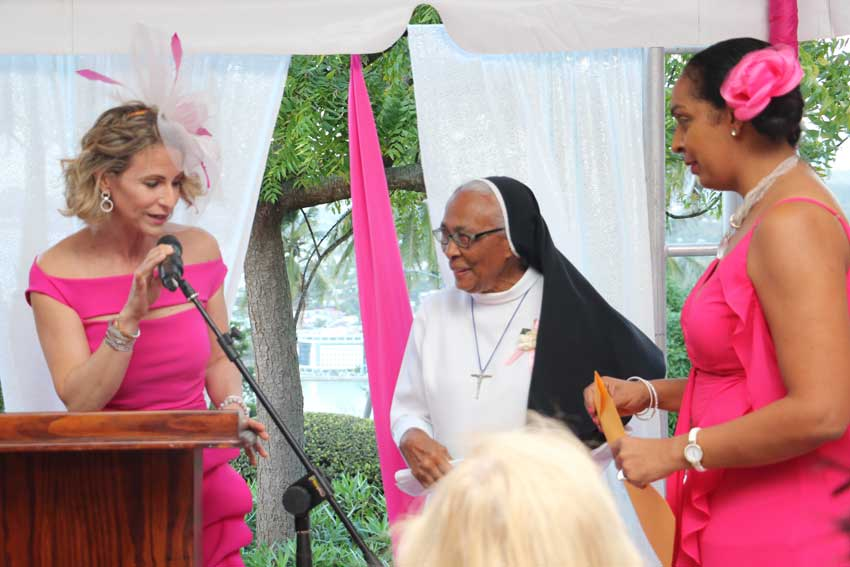 Image: Raquel Duboulay Chastanet thanks Sister Claire for speaking at event