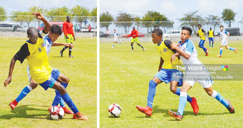 Image: Some of the action on the pitch between Saint Lucia's No.6 Shaquan Nelson and No. 8 Ajani Hippolyte and Puerto Rico No. 14 Rafael Ramos. (Photo: Anthony De Beauville)