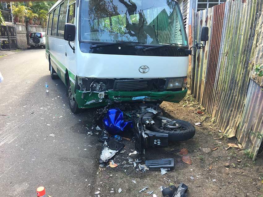 bike crash st lucia bad accident