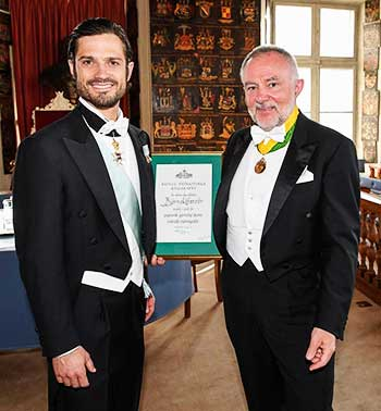 Image: Björn Löfstedt (left) the founder of Index Braille, receives the Special Medal for Enterprises 2019, by His Royal Highness Prince Carl Philip.