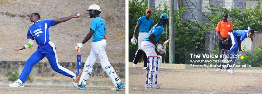 Image: (L-R) Central Castries fast bowlers Dillan John took 4 for 39 and Sanjay Hayle 2 for 36 versus Gros Islet. (PHOTO: Anthony De Beauville)