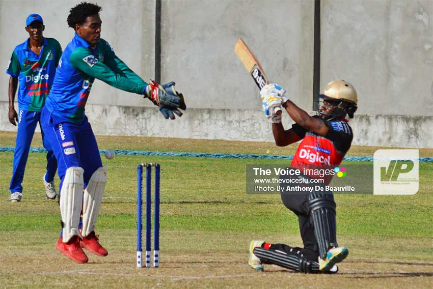 Image: Gaspard Prospere (Avatar City Blasters) scored the first SPL century for 2019, 100 versus Soufriere Stumpers. (PHOTO: Anthony De Beauville)