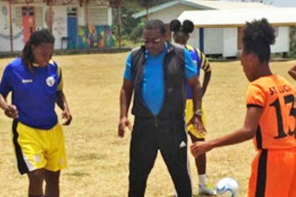 Image: SLFA newly appointed football coach Jamaal Shabazz during a training stint on Saturday. (PHOTO: EB)