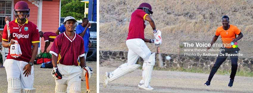 Image: (L-R) Jard Goodman and Jose Fedee, opening batsmen (Veterans); Goodman plays one to the right of Daren. Sammy. (PHOTO: Anthony De Beauville)