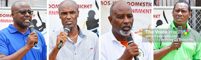 Image: (L-R) Addressing the players - President of the Gros Islet Cricket Association, Joseph Hall; President of the Saint Lucia National Cricket Association, Julian Charles; Youth and Sports Director, Patrick Mathurin; and Parliamentary Representative for Gros Islet, Lenard Montoute. (PHOTO: Anthony De Beauville)