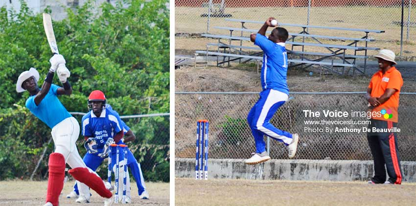 Image: (L-R) Kimani Melius hits a towering six on his way to his half century (56); Central Castries Off Spinner Alleyne Prospere caught in mid-air about to bowl a delivery .(PHOTO: Anthony De Beauville)