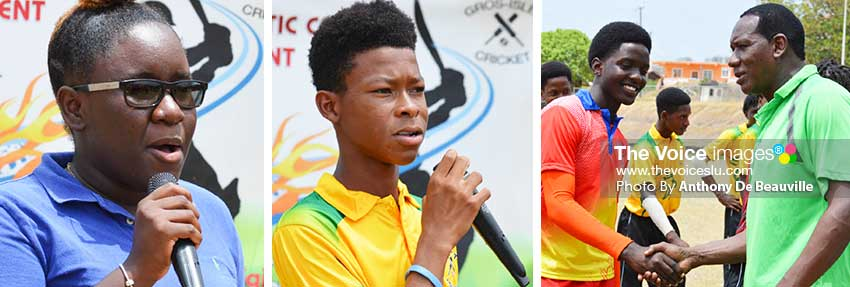 Image: (L-R) President of the Gros Islet Youth and Sports Council; Captain of the Gerson Strikers, Gerson Simeon giving the Vote of Thanks and Parliamentary Representative for Gros Islet, Lenard Montoute meets West Indies U-19 player, Kimani Melius. (PHOTO: Anthony De Beauville)