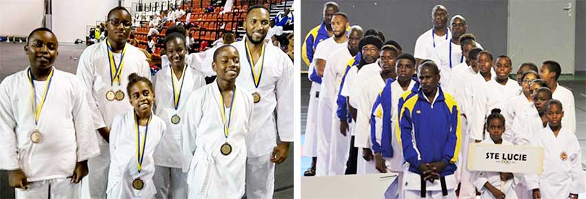 Image: (L-R) Medal winners; Team Saint Lucia on the opening day of the championship. (PHOTO: UT)