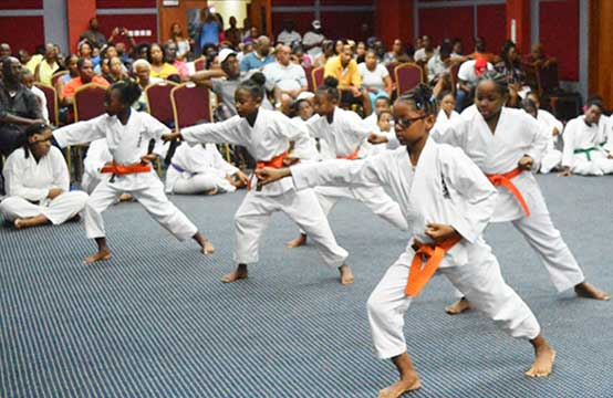 Image of orange belt girls in action