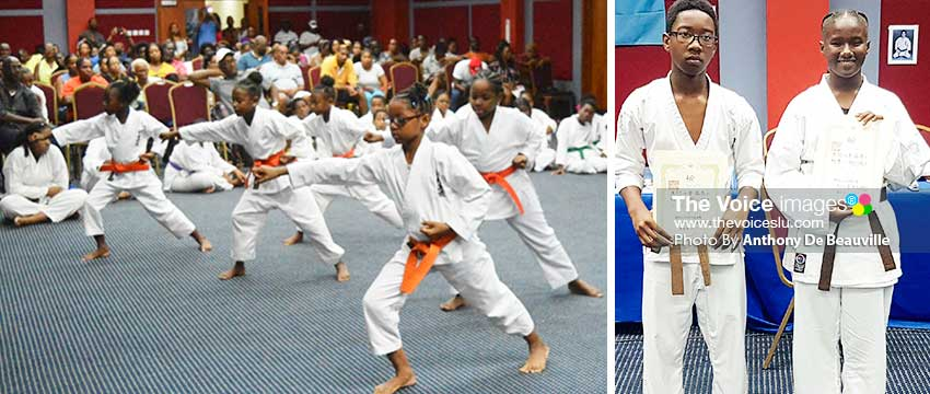 Image: Orange belt girls in action; NyimWilkie and CiannaDalson moved from Brown Belt 2 to Brown Belt 1. (PHOTO: Anthony De Beauville)