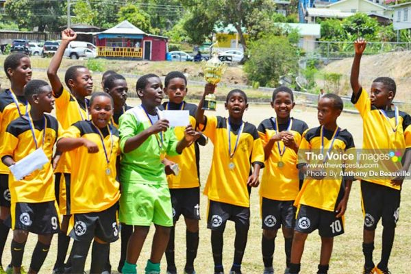 Image: SLFA Northern Zone Under-11 champions Northern United FC celebrate. (PHOTO: Anthony De Beauville)