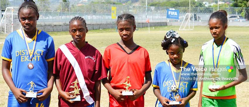 Image: (L-R) ) Top awardees, Best Defender: Mickege Francis; Golden Boots: Clowie Williams; Best Striker: Jerdel Emery; Best Midfielder: Amir Emmanuel; Best Goalkeeper: Nieasha Edward.(PHOTO: Anthony De Beauville)