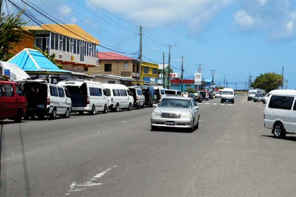 Image of the bus stands along the Vieux Fort highway.
