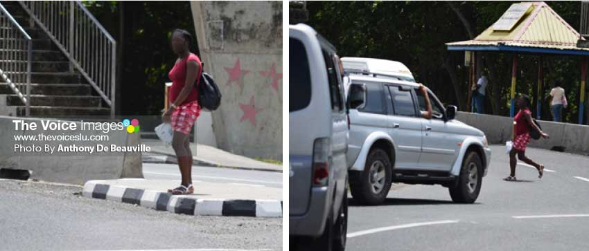Image: (L-R) A female pedestrian waiting to cross the busy highway; Could Jaywalking charges be enacted in Saint Lucia soon? (PHOTO: Anthony De Beauville)