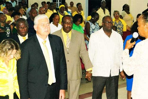 Image of Prime Minister Allen Chastanet and his wife Raquel DuBoulay-Chastanet and Cabinet Ministers at Thursday's church service.