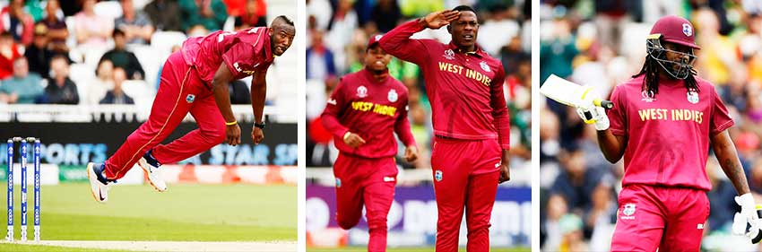 Image: (L-R) Andre Russell in full flight; Sheldon Cottrell celebrates taking the wicket of Pakistan's Imam-ul-Haq; Chris Gayle celebrates reaching a half century (ICC CWC)