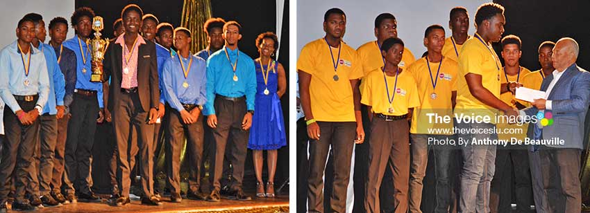 Image: (L-R) Champion team for 2019, Gros Islet and runners up, Babonneau .(PHOTO: Anthony De Beauville)