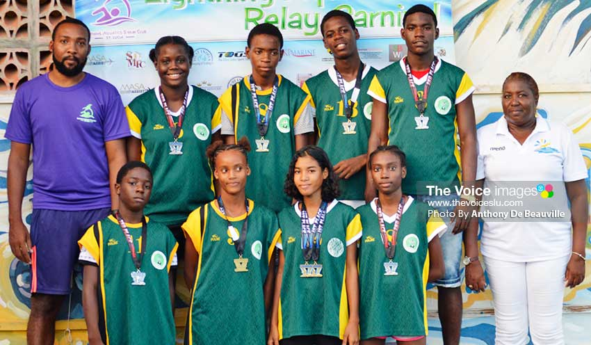 Image: Ciceron Secondary School students, Saint Lucia Aquatic Federation Grassroots programme first-time swimmers at the RHAC .(PHOTO: Anthony De Beauville)