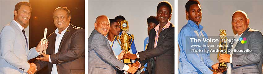 Image: (L-R) Daren Ganga receiving a token of appreciation from Sandals Public Relations Manager Sunil Ramdeen; Sandals Managing Director Winston Anderson presenting Kimani Melius (Gros Islet) with the championship trophy, and Lee Solomon (Gros Islet) with the MVP of the Tournament Award .(PHOTO: Anthony De Beauville)