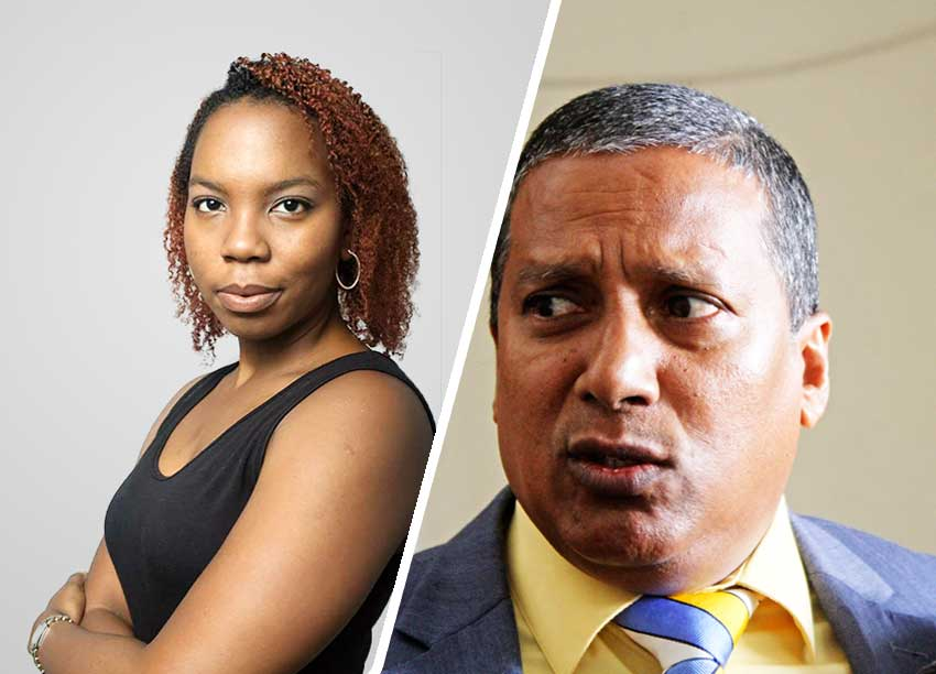 Image of Choice News Editor and Talk Show Host Janeka Simon. (PHOTO BY: Belle Portwe) & Economic Development Minister Guy Joseph.