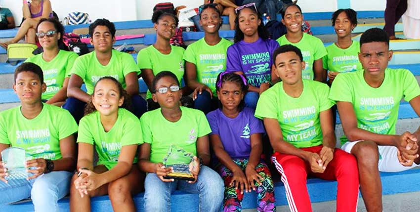 Image: The Lightning Aquatics Swim Club at the meet in Barbados. (PHOTO: LA)