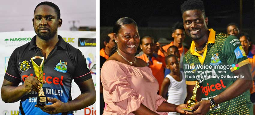 Image: (L-R) Man of the Match, third place playoff Magaran Shoulette (Mabouya Valley Renegades;) Jacqueline Inglis presenting Andre Fletcher with one of his three awards.(PHOTO: Anthony De Beauville)