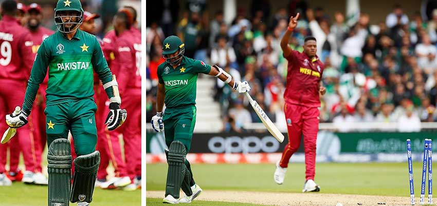 Image: Pakistan's HarisSohail; Pakistan's WahabRiaz looks dejected as he walks off after losing his wicket to West Indies' Oshane Thomas. (PHOTO: ICC CWC)