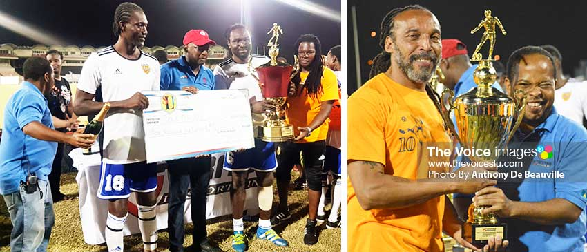 Image: (L-R) Pele Masters 40 Plus and 50 Plus champions receiving awards from VISI representatives, Alvin Malaykhan and Garvin Niles PHOTO: Anthony De Beauville)