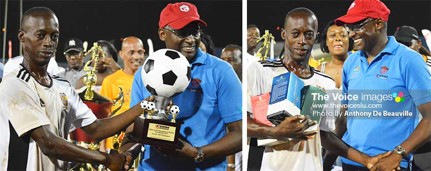 Image: (L-R) Pele Masters, RawleGittens made a clean sweep in the 40 Plus category when he collected awards from VISI CEO Alvin Malaykhan for Most Valuable Player (Finals) USD$300.00 Plus Trophy, Most Valuable Player (Tournament) USD$300.00 Plus Trophy, Most Goals of the Tournament USD$300.00 Plus Trophy . (PHOTO: Anthony De Beauville)