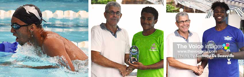Image: (L-R) New national record holder in the Boys 15 and Over 200 meters breaststroke TerrelMonplaisir; Dr.Beaubrun presenting Karen Beaubrun awards to Gelanie Augier (Lightning Aquatics) and Omar Alexander (Seajays). (PHOTO: Anthony De Beauville)