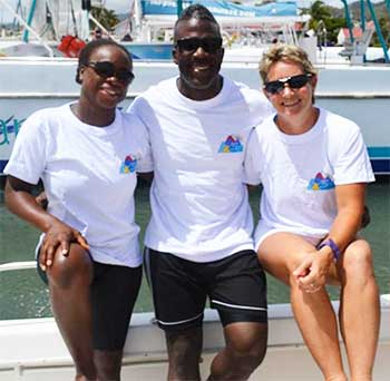 Image: (L-R) The local trio who will attempt to swim across the Channel, Vanessa Eugene, Rodriguez Constantine and Monique Devaux-Lovell. (Photo: SD)