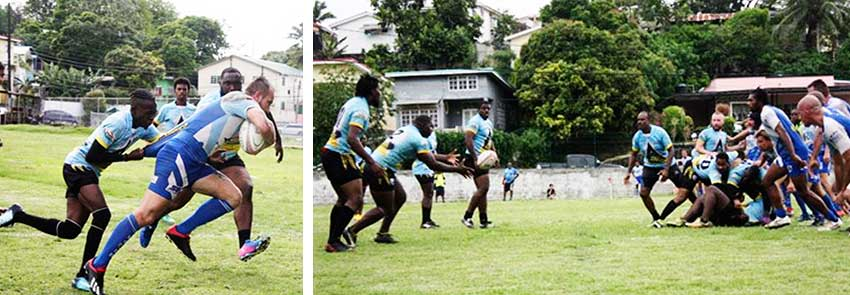 Image: Saint Lucia's Yohan Henry tries to stop Diamante's Julien Estaques from scoring; Elvin Joseph catching the ball to launch an attack. (PHOTO: SLRFU)