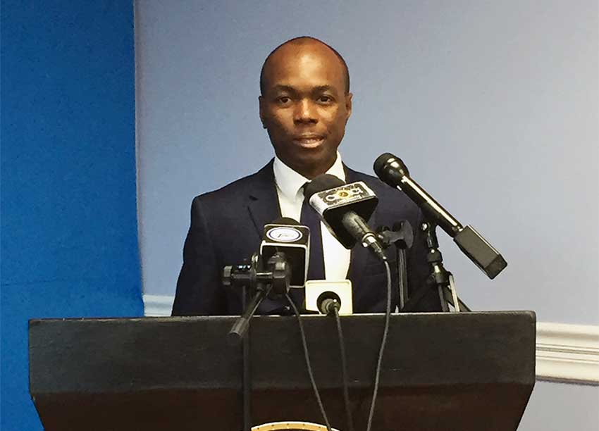 Image of Tourism Minister Dominic Fedee at Monday's Pre-Cabinet meeting