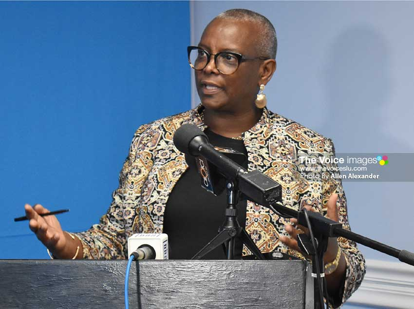Image of Minister in the Ministry of Tourism and Culture Fortuna Belrose [PHOTO: Allen Alexander]