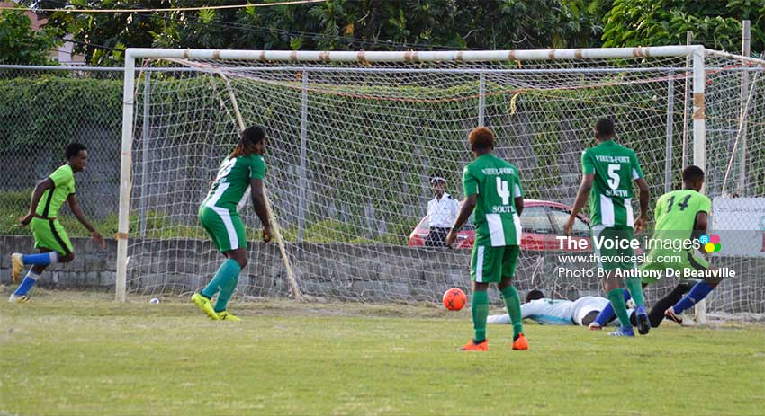 Image: Joel Lubin No.14 put Mon Repos ahead in the 2nd minute of play. (PHOTO: Anthony De Beauville)